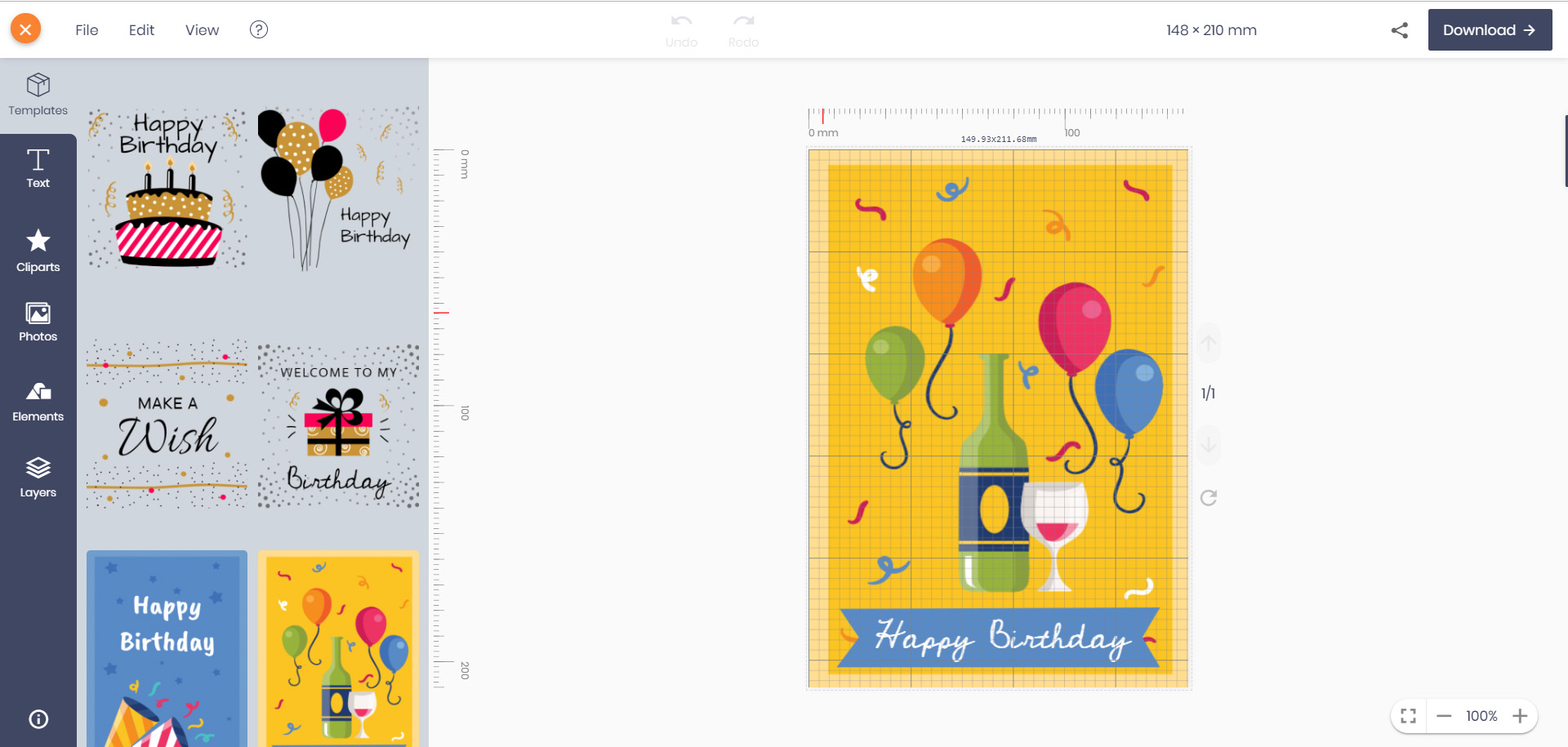 When You Open The Editor Choose Best Model For Original Size Of Birthday Card Is 85 X 55 Mm 450 Dpi